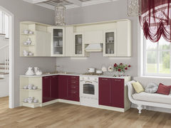 Кухня Кухня Артем-мебель Виола бордо/ваниль