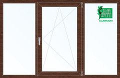 Окно ПВХ Окно ПВХ Salamander 2060*1420 2К-СП, 5К-П, Г+П/О+Г ламинированное (темное дерево)