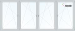 Балконная рама Балконная рама Rehau 3400x1450 1К-СП, 5К-П, П/О+П/О+П/О+П/О