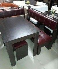 Кухонный уголок, диван Феникс Тип 3 (венге + экокожа бордо)