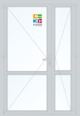 Алюминиевая дверь Alutech ALT C48 1300x2100 2К-СП, 1К-П Двухстворчатая с импостом и узкой створкой