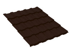 Металлочерепица Металлочерепица Скайпрофиль Вилейская волна Стальной шёлк 0,50 мм 400 х 30 мм RAL8017 (шоколадно-коричневый)