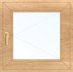 Деревянное окно Липа для бани, 500*500, стеклопакет