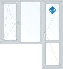 Окно ПВХ Veka 2160*1860 1К-СП, 3К-П, П/О+Г+П