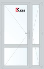 Дверь ПВХ Дверь ПВХ KBE 1300*2100 двухстворчатая с узкой створкой и импостом (KBE 70 дверной)