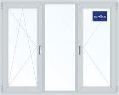 Алюминиевое окно Schuco 2060*1420, П/О+Г+П