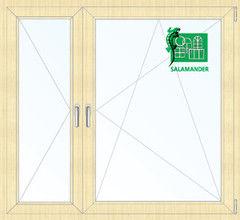 Окно ПВХ Окно ПВХ Salamander 1460*1400 2К-СП, 5К-П, П+П/О ламинированное (светлое дерево)