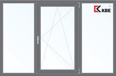 Окно ПВХ KBE 2060*1420 2К-СП, 5К-П, Г+П/О+Г ламинированное (серый)