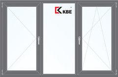 Окно ПВХ KBE 2060*1420 2К-СП, 5К-П, П+Г+П/О ламинированное (серый)