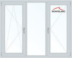 Окно ПВХ Montblanc Eco 60 2060*1420 1К-СП, 3К-П, П/О+Г+П