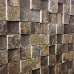Натуральный камень Натуральный камень АЛЬТЕРфасад Мозаика из сланца 3D Multicolor