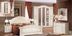 Спальня ФорестДекоГрупп Любава-5 жемчужный с патиной
