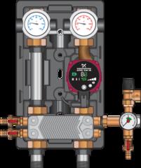 """Комплектующие для систем водоснабжения и отопления Meibes Насосная группа UK-HE 1"""" с насосом Grundfos UPS 25-60 N, т/о 36 пл (45811.36)"""