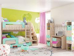 Детская комната Детская комната МиФ Юниор-1 (дуб беленый/бирюза металлик)