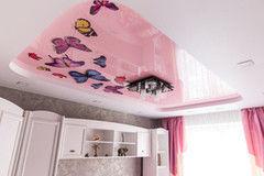 Натяжной потолок ТЕХО цветной глянцевый двухуровневый с фотопечатью