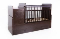 Детская кровать Кроватка Bambini трансформер (темный орех)