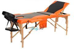 Мебель для салонов красоты  Массажный стол AAF 3-х сегментный складной (дерево), цвет черно-оранжевый