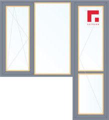Дерево-алюминиевое окно Gutmann Сосна 1860*2160, в/с, П/О+Г+П
