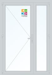 Алюминиевая дверь Alutech ALT W62 1300x2100 2К-СП, 3К-П Одностворчатая с доп окном
