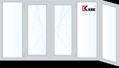 Балконная рама Балконная рама KBE 3650*1450 2К-СП, 6К-П, Г+П/О+П/О+Г+Г (Г-образная)