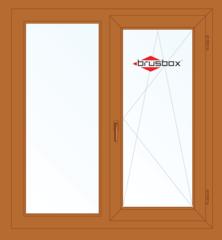 Окно ПВХ Окно ПВХ Brusbox 1300*1400 2К-СП, 4К-П, Г+П/О (односторонняя ламинация)