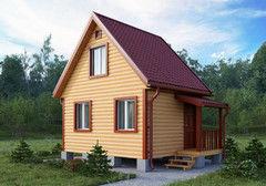 Строительство домов Дом с мансардой БелДревМонтаж Кедр К 5х4