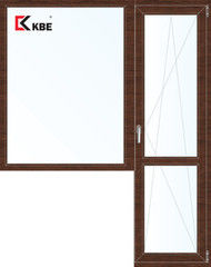 Окно ПВХ KBE Окно ПВХ 1860*2160 2К-СП, 5К-П, Г+П/О ламинированное (темное дерево)