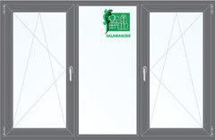 Окно ПВХ Окно ПВХ Salamander 2060*1420 2К-СП, 5К-П, П/О+Г+П/О ламинированное (серый)