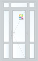 Алюминиевая дверь Alutech ALT W62 1500x2400 2К-СП, 3К-П Одностворчатая с импостом и доп окнами