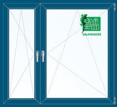Окно ПВХ Окно ПВХ Salamander 1460*1400 2К-СП, 5К-П, П/О+П/О ламинированное (темно-синий)