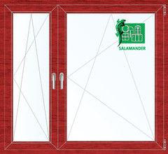 Окно ПВХ Окно ПВХ Salamander 1460*1400 2К-СП, 5К-П, П/О+П/О ламинированное (вишня)