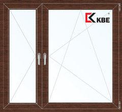 Окно ПВХ Окно ПВХ KBE Окно ПВХ 1460*1400 2К-СП, 5К-П, П+П/О ламинированное (темное дерево)