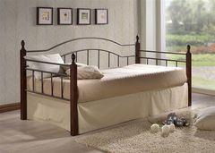 Кровать Кованая кровать Red&Black Ника-М (коричневый бархат-металл/темный орех)
