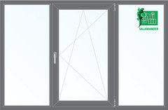 Окно ПВХ Окно ПВХ Salamander 2060*1420 2К-СП, 5К-П, Г+П/О+Г ламинированное (серый)