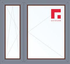 Дерево-алюминиевое окно Gutmann Меранти 1460*1400, в/с, П/О+П