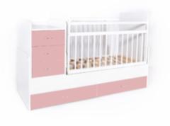Детская кровать Кроватка Bambini трансформер (белый-розовый)