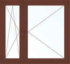 Деревянное окно Меранти 1460*1400, в/с, П/О+П