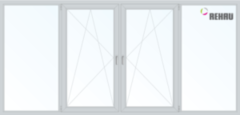 Балконная рама Балконная рама Rehau 2900x1400 2К-СП, 4К-П, Г+П/О+П/О+Г