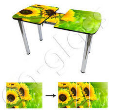 Обеденный стол Обеденный стол AA-Glass Стол раздвижной «Бочка» 120(170)х80 (опора труба d60)