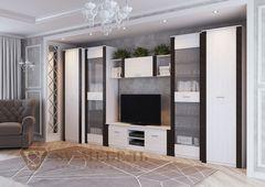 SV-Мебель Пенал со стеклом Гамма 20 (ясень анкор светлый/венге)