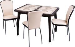 Обеденный стол Обеденный стол Домотека Каппа ПР 104(141)x72x75 и стулья Милано (венге)