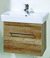 Мебель для ванной комнаты Акваль Тумба Паола 60 орех (умывальник Бергамо 60, один ящик)