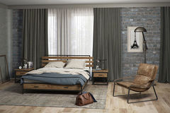 Спальня divan.by Лофт Дуб Табачный (кровать, тумба прикроватная)