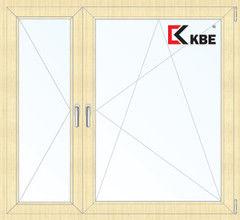 Окно ПВХ Окно ПВХ KBE 1460*1400 2К-СП, 5К-П, П+П/О ламинированное (светлое дерево)