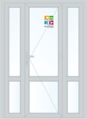 Алюминиевая дверь Alutech ALT W62 1500x2100 2К-СП, 3К-П Одностворчатая с импостом и доп окнами