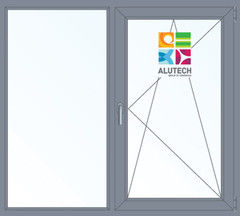 Алюминиевое окно Alutech W72 1000*1300 2К-СП Г+П/О