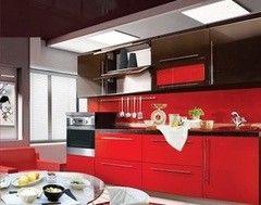 Кухня Кухня ЗОВ Из МДФ крашенного Черно-красная RAL глянец 8019/3020