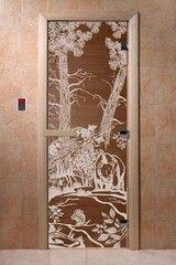 Дверь для бани и сауны Дверь для бани и сауны Doorwood Мишки в лесу