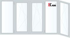 Балконная рама Балконная рама KBE 3650*1450 2К-СП, 6К-П, Г+П/О+П/О+Г+П/О (Г-образная)