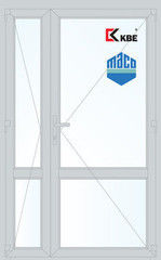 Дверь ПВХ Дверь ПВХ KBE 1300*2100 двустворчатая Модель 69
